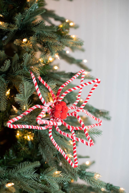 "24"" Frosty Peppermint Wire Poinsettia Stem"