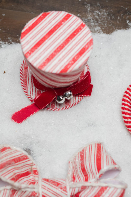 """6.25"""" Frosty Peppermint Hat with Bow Ornament"""