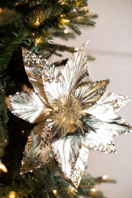 """24"""" Metallic Sequin Edge/Tips Poinsettia Stem"""