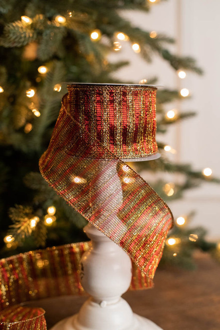 """2.5"""" x 10 Yard Red and Gold Stripe Ribbon"""