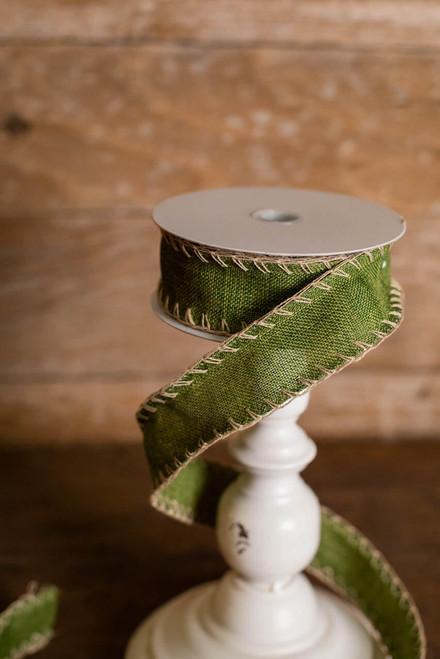 "1.5"" x 10 Yard Country Green Stitched Ribbon"