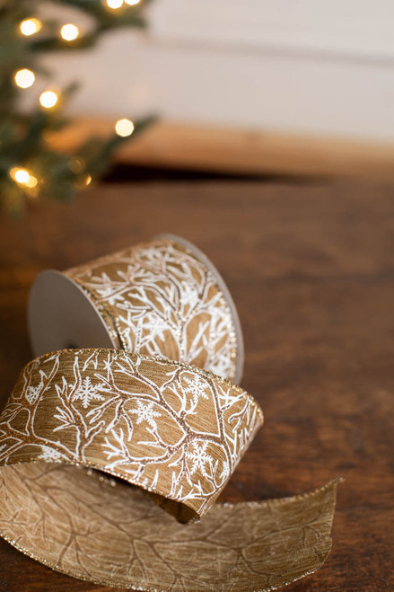 "2.5"" x 10 Yard Snowflake Branches Ribbon"