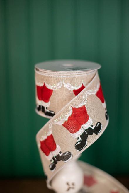 """2.5"""" x 10 Yard Santa Feet Ribbon"""