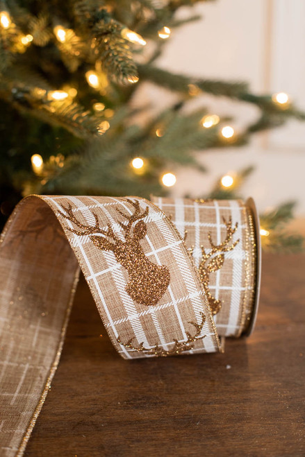 "2.5"" x 10 Yard Gold Glitter Plaid Reindeer Ribbon"