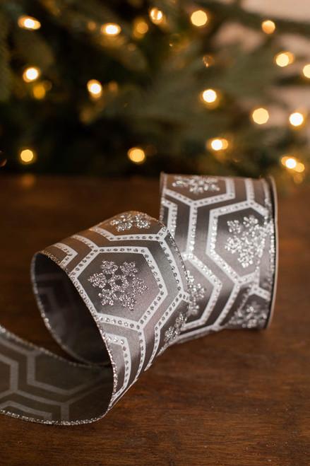 "2.5"" x 10 Yard Geometric Silver and White Glitter Snowflake Ribbon"