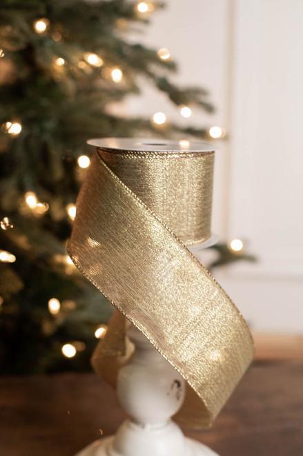 "2.5"" x 10 Yard Gold Shimmer Ribbon"