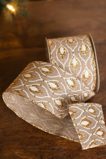 "2.5"" x 10 Yard Gold Glitter Flame Ribbon"