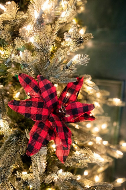 """26"""" Holiday Buffalo Check Plaid Poinsettia Red and Black"""