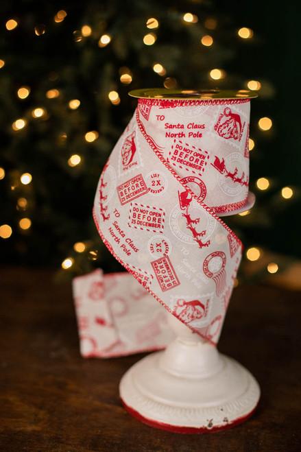 "4"" x 10 Yard North Pole Postage Ribbon"