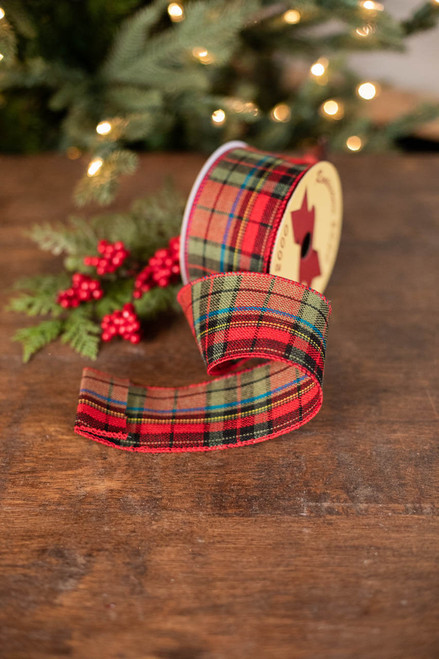 Red/Green Plaid with Blue Stripe Ribbon