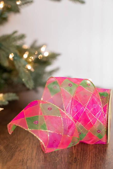 "2.5"" x 10 Yard Pink/Green Diamond Christmas Ribbon"