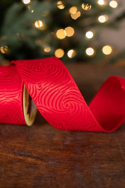 "2.5"" x 10 Yard Red Swirly Ribbon"