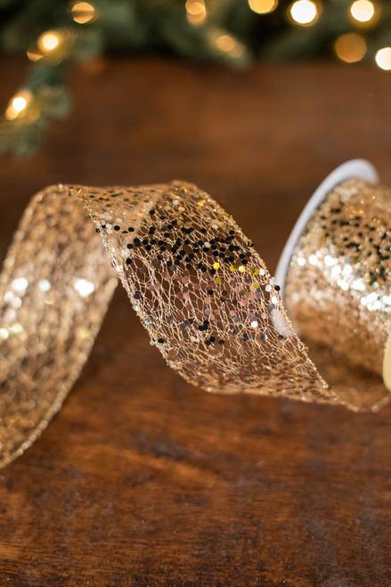 "2.5"" x 10 Yard Gold Glitter Mesh Ribbon"