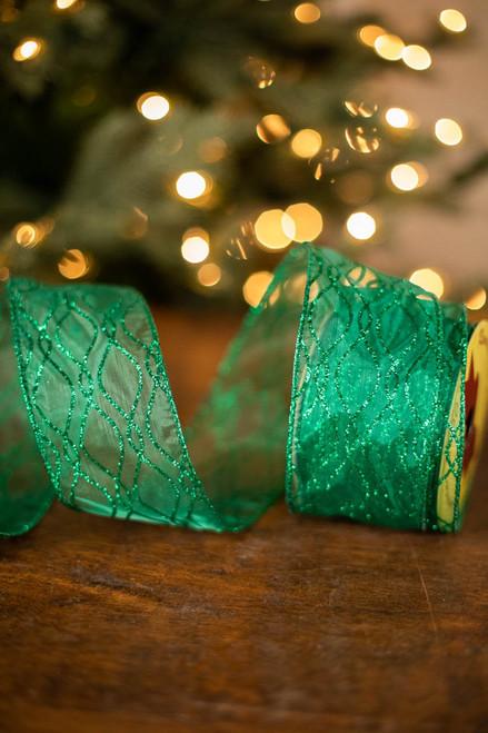 """2.5"""" x 10 Yard Green Glitter Ribbon"""