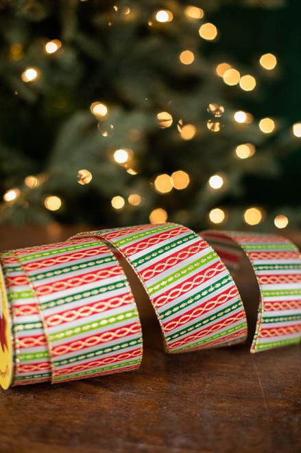 "2.5"" x 10 Yard Gold Glitter on Red/Green Striped Ribbon"