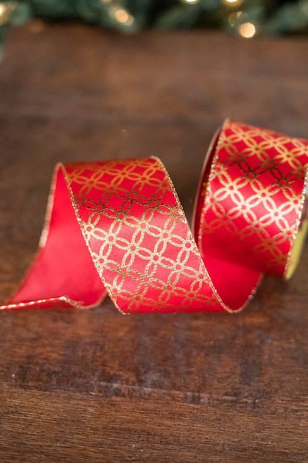 "2.5"" x 10 Yard Gold Glitter on Red Ribbon"