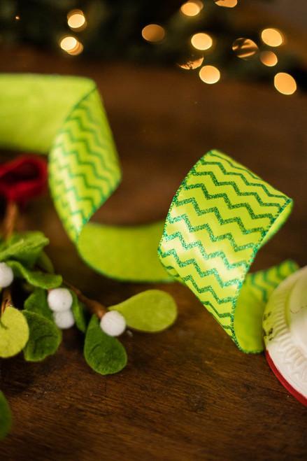 """2.5"""" x 10 Yard Wavy Green Glitter Ribbon"""