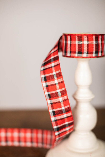 Red/Black/White Plaid Ribbon