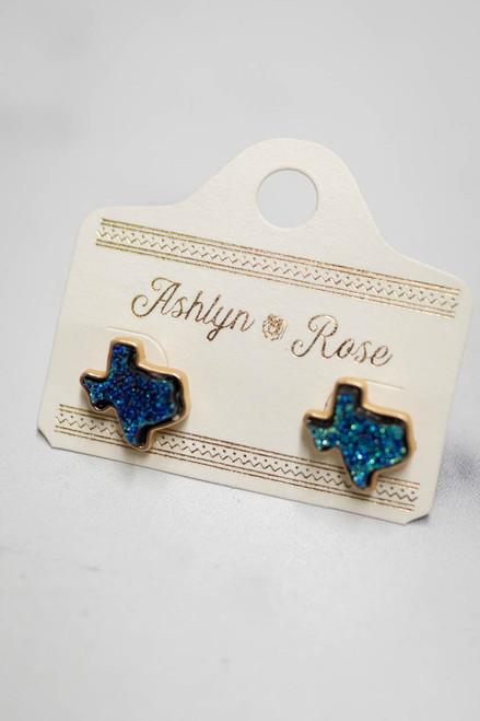 Blue Druzy Texas Stud Earrings