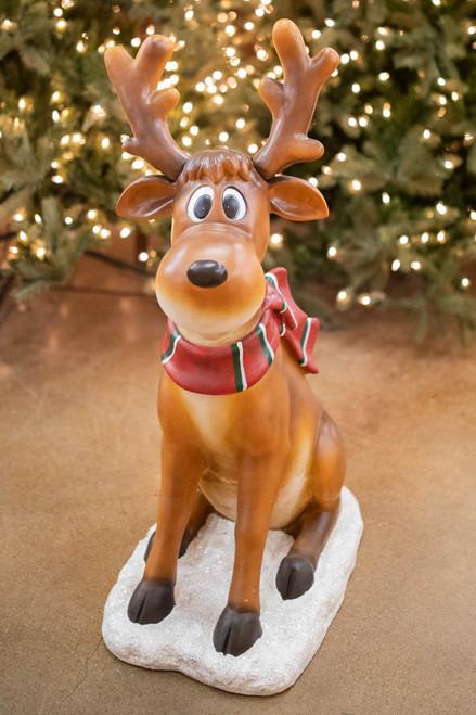 """38"""" Resin Sitting Reindeer"""