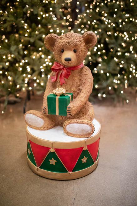 "34"" Resin LED Bear on Drum"