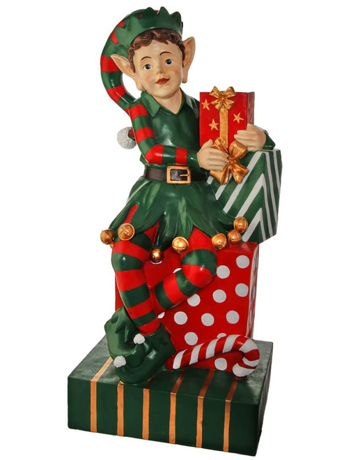 """48"""" Resin Elf Sitting with Packages"""