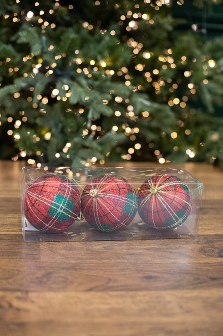 100MM VP Glitter Plaid Ball Ornament, Box of 3