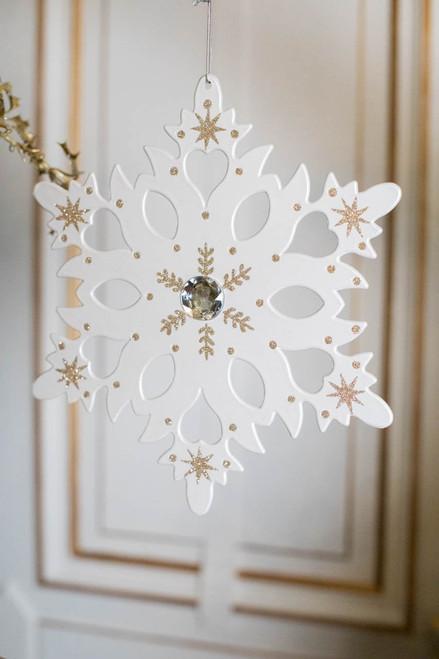 """12"""" White Metallic Snowflake Ornament"""