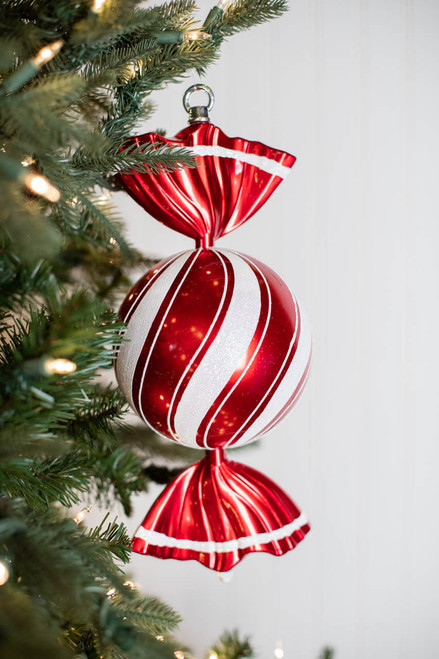 """13"""" Peppermint Candy Round Twist Ornament"""