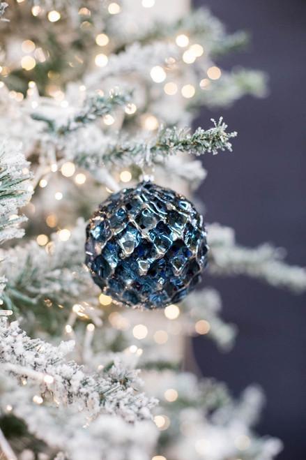 100MM Navy Blue Chrome Honeycombed VP Ball  Christmas Ornament