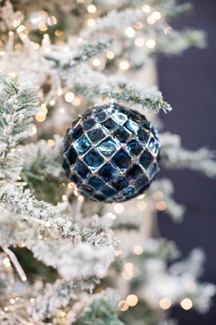 120MM Blue Chrome Honeycombed Ball Ornament
