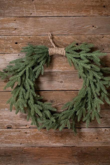 """24"""" PE Fir Heart Shaped Wreath W/Jute"""