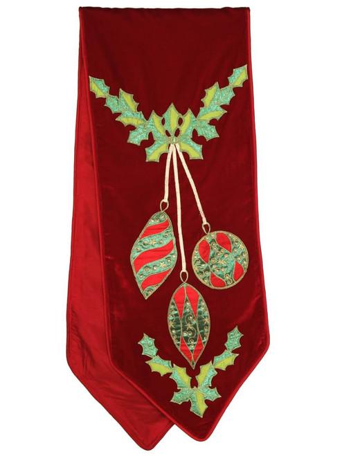 """72"""" x 13"""" Velvet Hanging Ornaments Table Runner"""