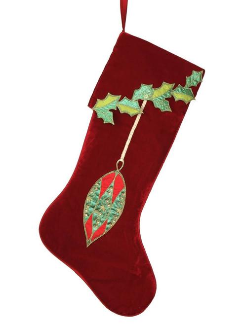 """25"""" Velvet Hanging Ornaments Stocking"""
