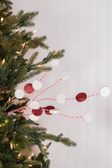 "31"" Glitter Candy Disk Peppermint Christmas Spray"