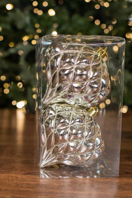 "6"" VP Shiny Diamond, Champagne Onion Finial Ornament - Box of 2"