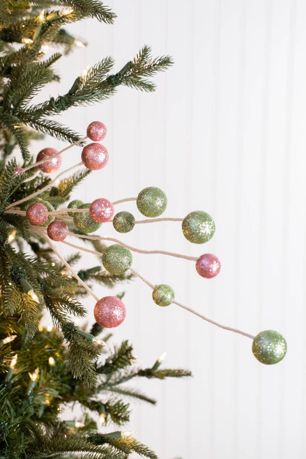 "31"" Glitter Cotton Candy Ball Christmas Tree Spray"