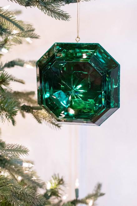 """6"""" Emerald Acrylic Square Precious Gem Ornament"""