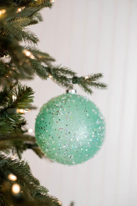 15 CM Ice Sugared Gumdrop Ball Ornament Mint