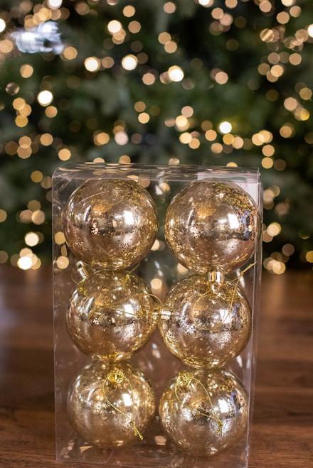 8 CM VP Mercury Ball Ornament - Box of 6 Champagne