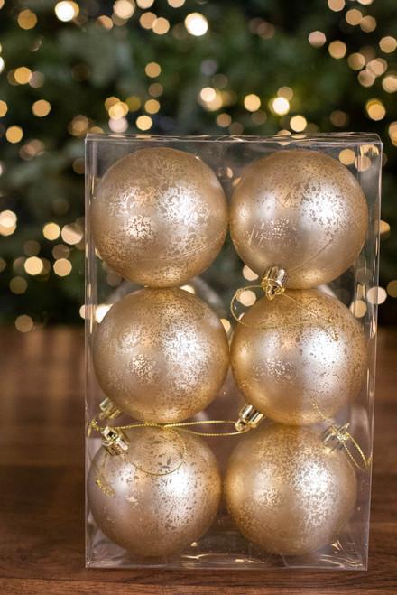 8 CM Champagne Matte Mercury Ball Ornament - Box of 6
