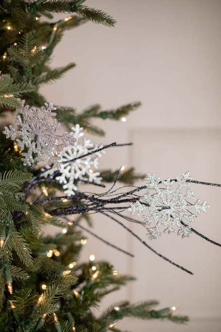 """33"""" Glitter Snowflake/Twig Spray Silver and Blue"""