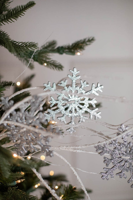 """33"""" Silver and White Glitter Snowflake /Twig Spray"""