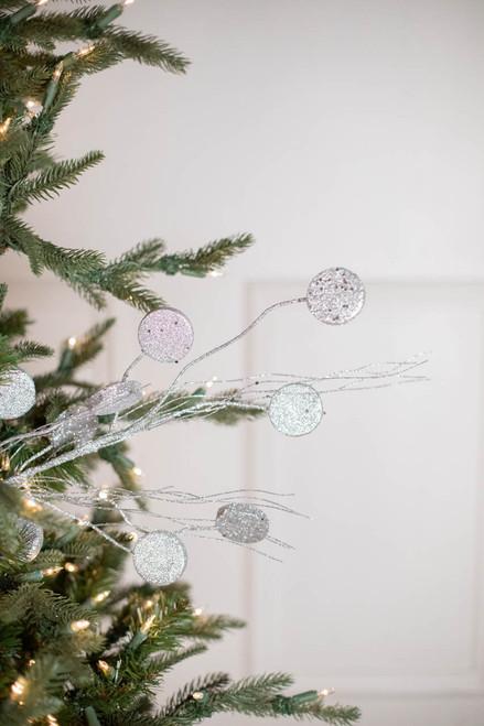 """33"""" Glitter Silver Dollar/Twig Christmas Spray Silver"""