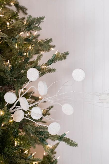 """33"""" Glitter Silver Dollar/Twig Christmas Spray"""