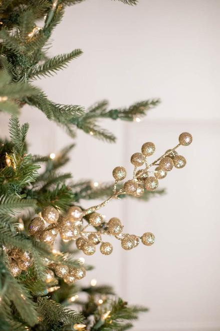 "28"" Glitter Ball Berry Christmas Spray Champagne"