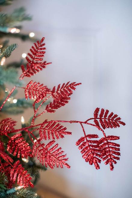 """35"""" Glitter Lacy Fern Leaf Christmas Spray Red"""