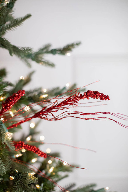 "30"" Red Glitter Berry Spike/Twig Christmas Tree Spray"