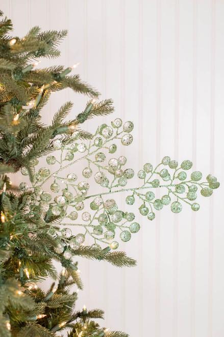 "29"" Glitter Mini Disc Christmas Spray Mint Green"