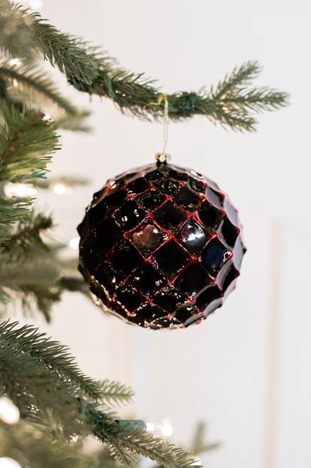 12 CM Dark Red Honeycomb Christmas Ball Ornament
